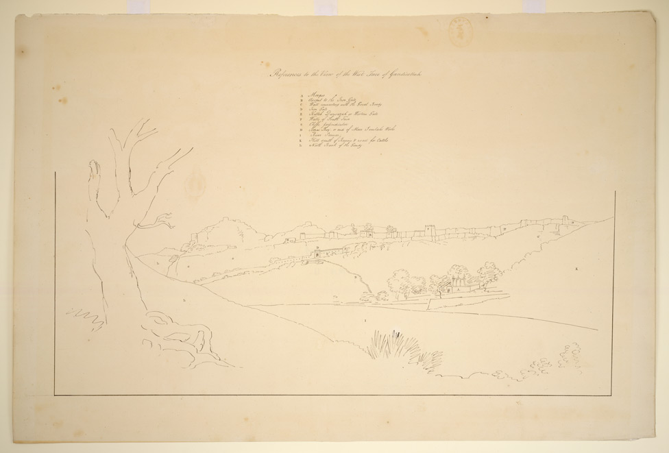 Key drawing for View of the W. side of Gandikotta Fort from the W. bank of the Pennar river